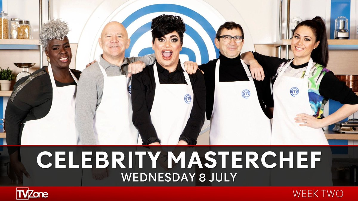 Actor @1phildaniels, drag artist @ChipShopBird, Olympic hockey gold medallist @SamanthaQuek, Kingdom Choir's @mskarengibson and TV presenter @DomLittlewood compete in the kitchen.   #CelebrityMasterchef continues Wednesday at 9pm on BBC One.pic.twitter.com/ZvWVwHOnRn