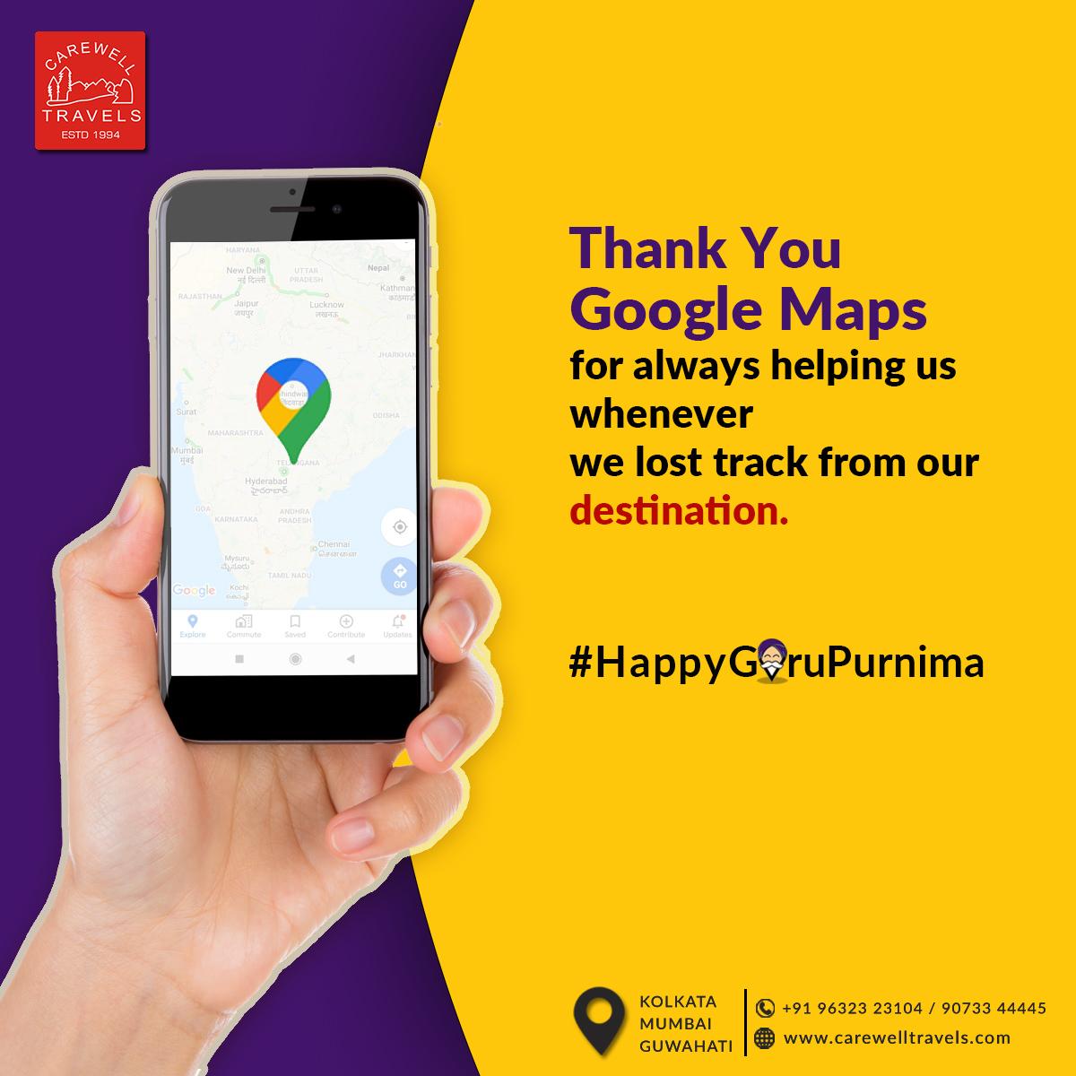 The #TravelGuru who always guides you to the right destination .  #GuruPurnima #GoogleMaps  #CarewellTravels #TravelAgency #Kolkata #Mumbai #Guwahati #GoogleNavigation #CareBeyondComparepic.twitter.com/6KnUl9Hge8