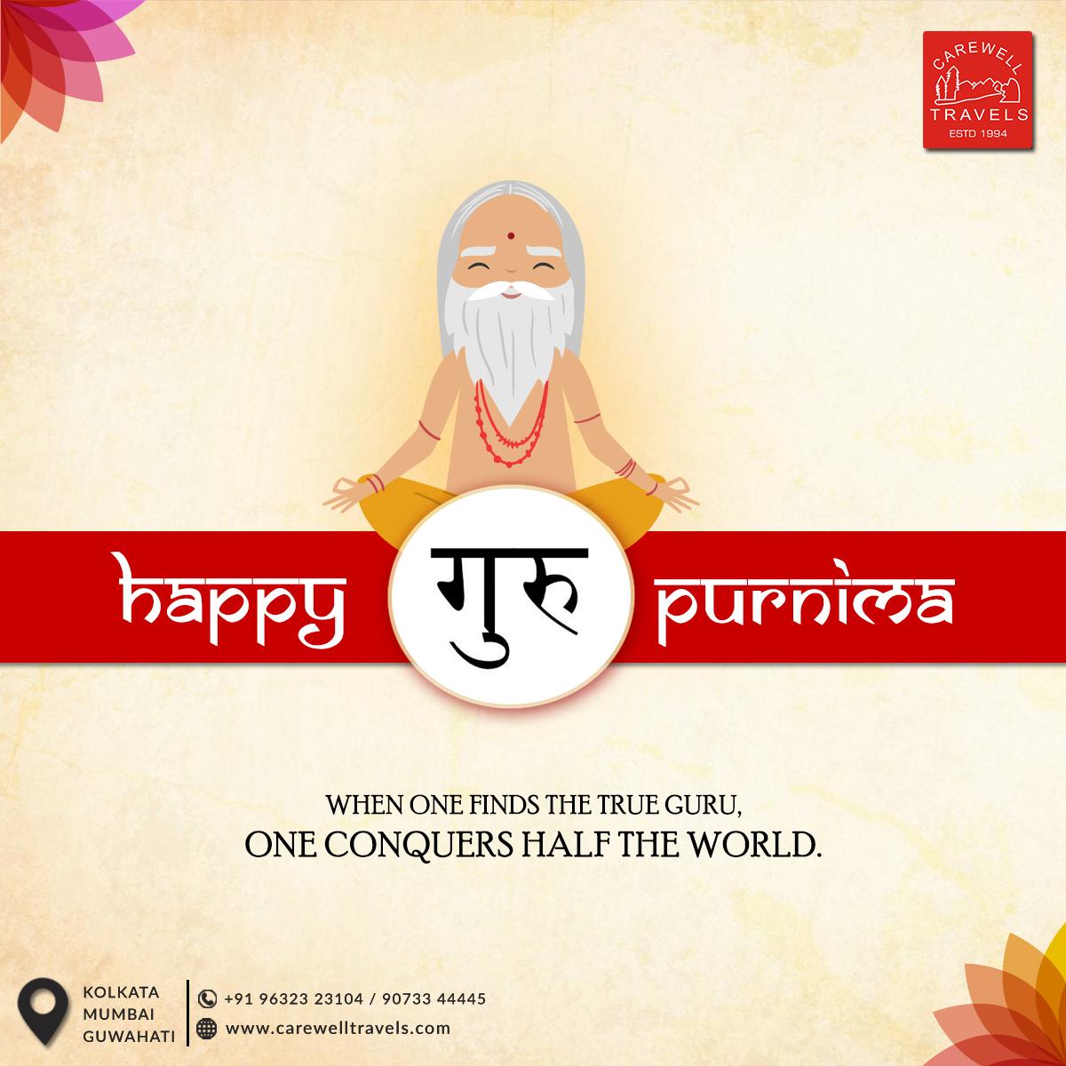 Happy Guru Purnima.  #GuruPurnima #CarewellTravels #TravelAgency #Kolkata #Mumbai #Guwahati #CareBeyondComparepic.twitter.com/jIw2lcd9ah