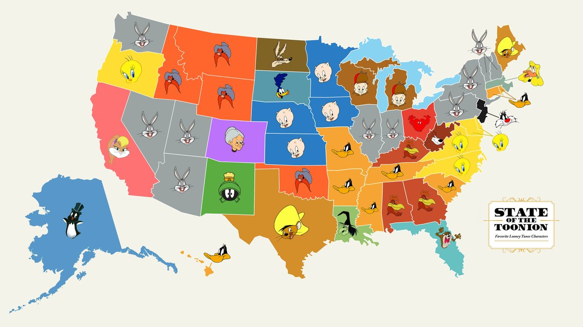 I did some research and found the favorite looney tunes character of each state and wow there is a lot to process here https://t.co/9Z4pb4DTPU