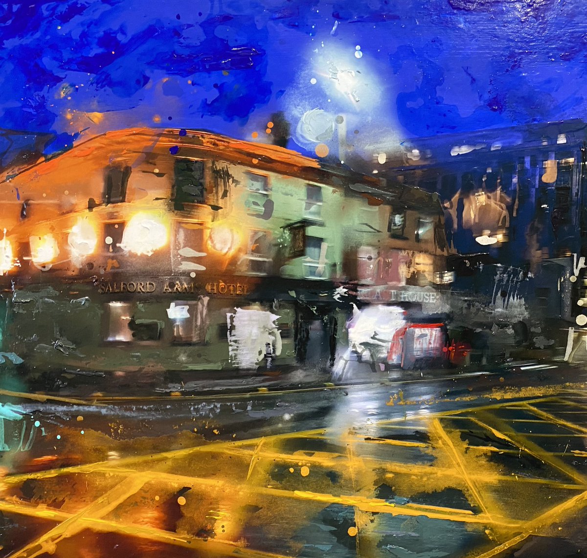 Nice to see more businesses opening, enjoy & stay safe.   Here is a close up of Ben Ark's latest piece which features the Salford Arms hotel where Salford meets Manchester.  #benark #mixedmediaartist #digitalartist #contemporaryart #cheshire #salford #manchester #salfordarmspic.twitter.com/WkzzFpn67F
