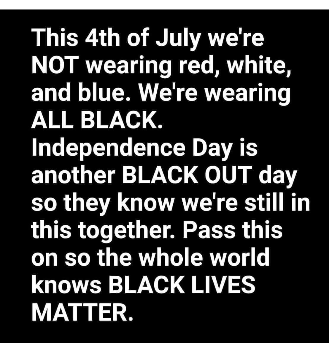 Definitely not...I know that some of us will be grilling and barbecuing this weekend...But I'm not just bc it's the 4th of July....I'm grilling bc I love grilled food and it's a beautiful day..#Juneteenth #BLM #StandTogether ✊🏾✊🏽✊🏿 https://t.co/TnVBa2wRQO