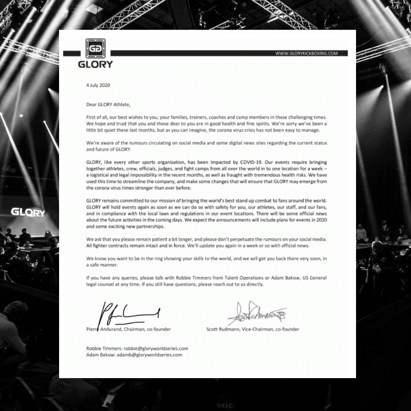 After yesterdays news, GLORY issued a letter towards its athletes, reassuring the future of the organization.  'There will be official news in the coming days. We expect the announcements will include plans for events in 2020 and some exciting new partnerships.'  @vechtsport_Info https://t.co/xOv1YbTcTc