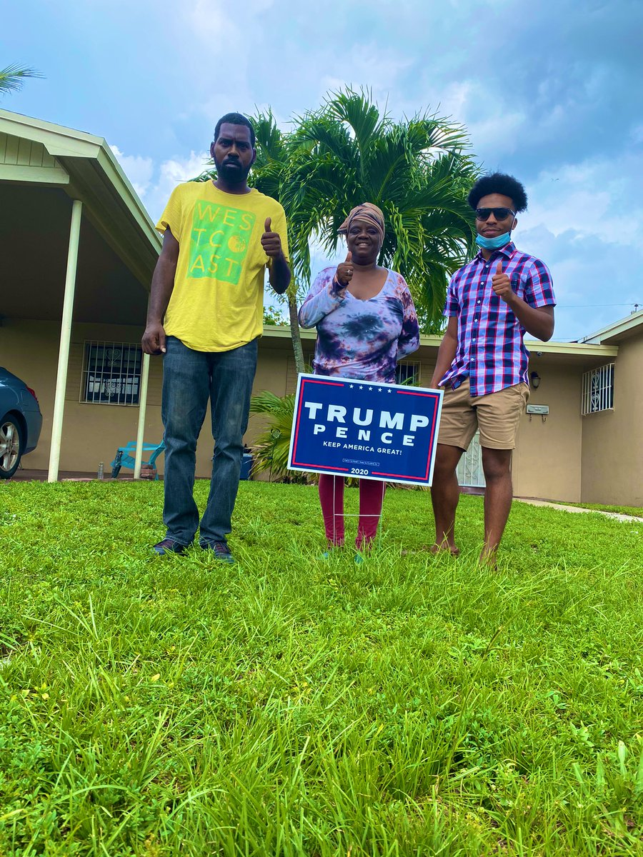 Registering voters and putting yard signs out for @realDonaldTrump in Miami Gardens on this Fourth of July🇺🇸 #LeadRight #KAG