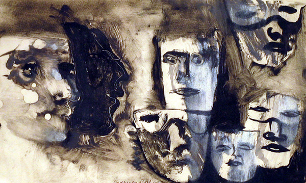"""""""Developing our awareness skills requires us to unmask ourselves.   .  #mindfulness  #awareness #skills  #Growth #selfawareness  #TheTwinPowers   #ThinkBIGSundayWithMarsha   .  Art by Ghitta Caiserman-Roth  Unmasking 1999"""" https://t.co/KDG2LDWYf9"""