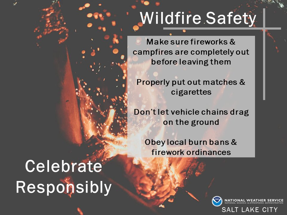 This holiday weekend, we encourage you to celebrate responsibly. Fire danger will be elevated this weekend through this upcoming week.  #utwx #utfire https://t.co/PQiTEzzuBv