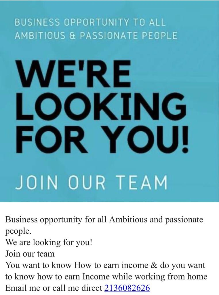 #Business #opportunity for all #Ambitious & #Passionate people We are looking for you! join our #team! Do you want to earn #income, you want to earn income while #workingfromhome  call 213-608-2626 #buisnessopportunity https://t.co/dMVvfzmT5C