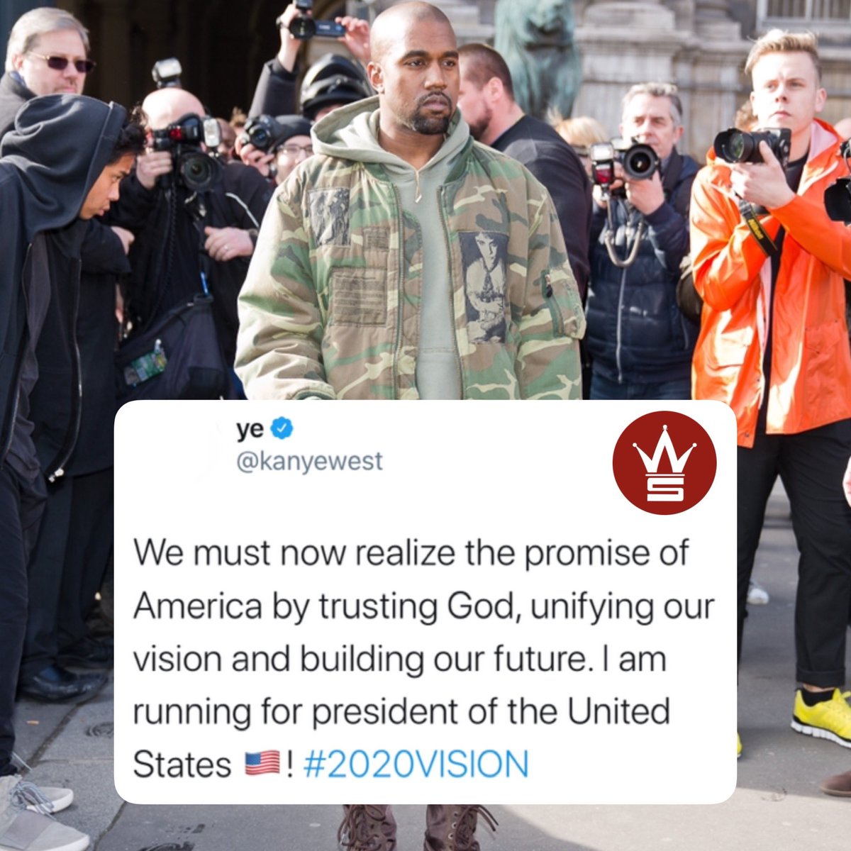 Kanye West announces he's running for President! 🇺🇸👀 @KanyeWest https://t.co/ppCgntwDgc