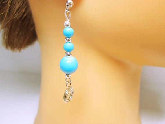 Blue #Beaded #Earrings Spiral Dangles Long Earrings Beautiful Peacock Blue Earrings Gift Ideas For Her Birthday Anniversary Modern Earrings #jewelry #fashion #handmade