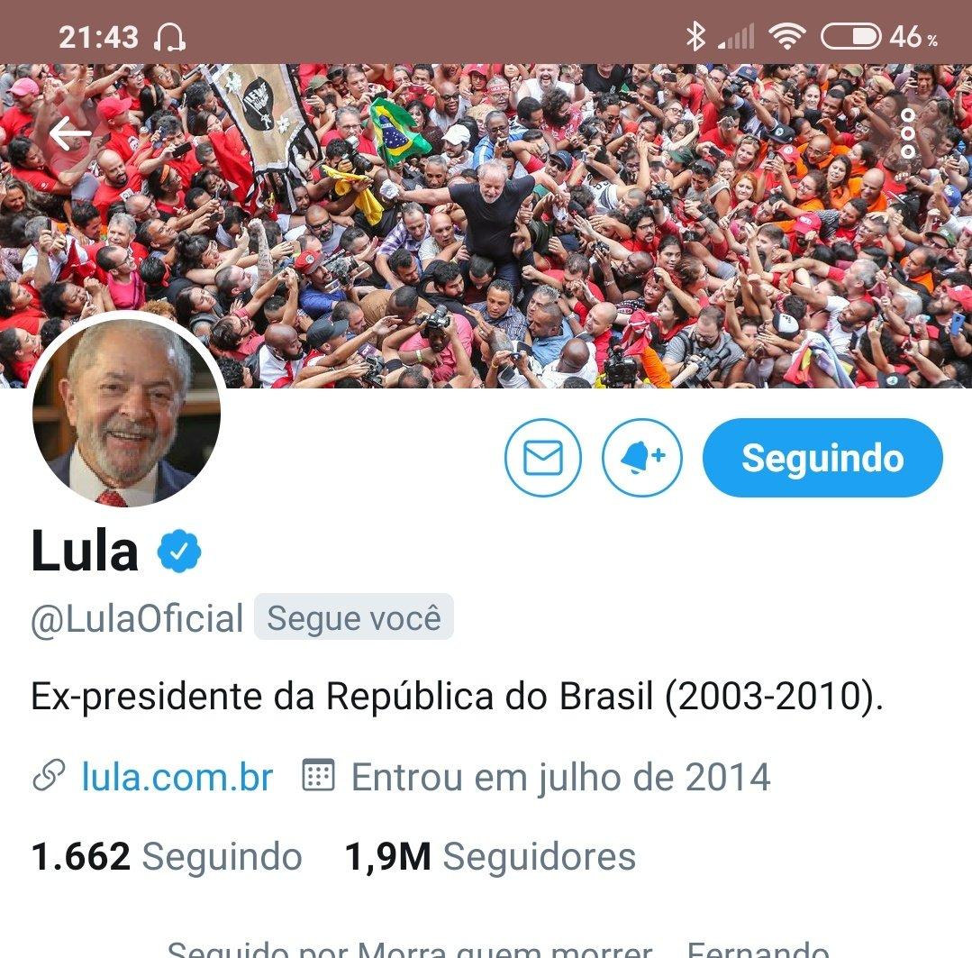 RT @priscilakmattos: Gente eu infarto agora, ou deixo pra depois? Meu Presidente @LulaOficial  me seguiu. https://t.co/u3717QUTGT
