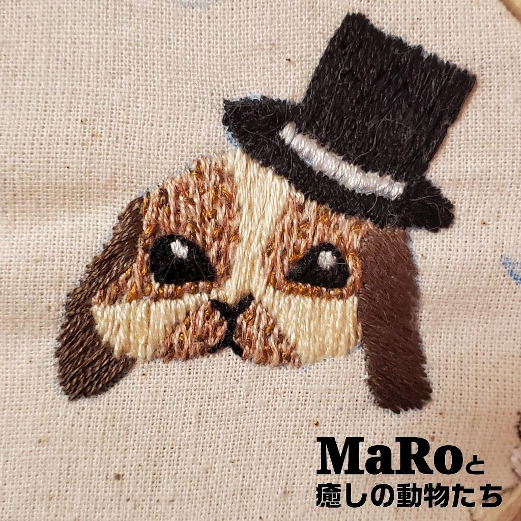 《ꫛꫀꪝ》 ブロークンのシルクハットを被ったうさちゃん  #MaRoと癒しの動物たち #刺繍 #オリジナル #original #embroidery #자수 #minne #ハンドメイド #handmade #수공 #bunny #うさぎ #rabbit