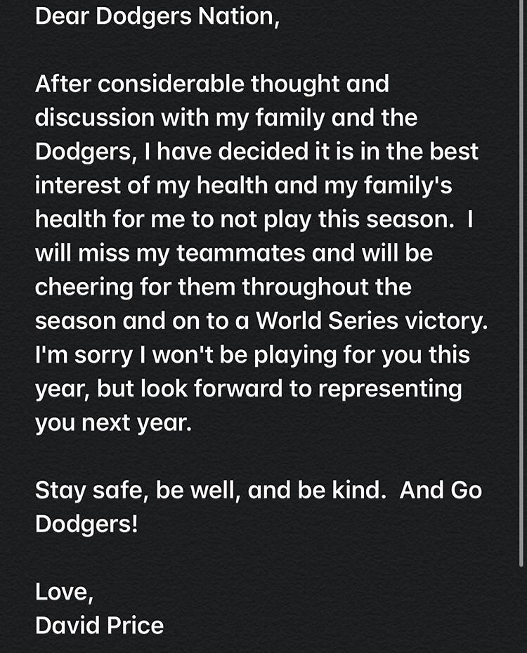 Los Angeles Dodgers starter David Price has opted out of playing in 2020.