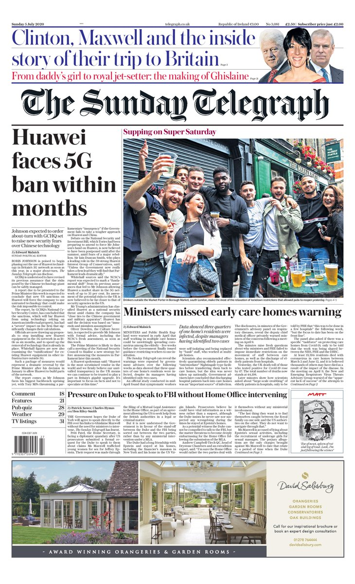 """Tomorrow's Telegraph front page: """"Huawei faces 5G Ban within months"""" #TomorrowsPapersToday"""