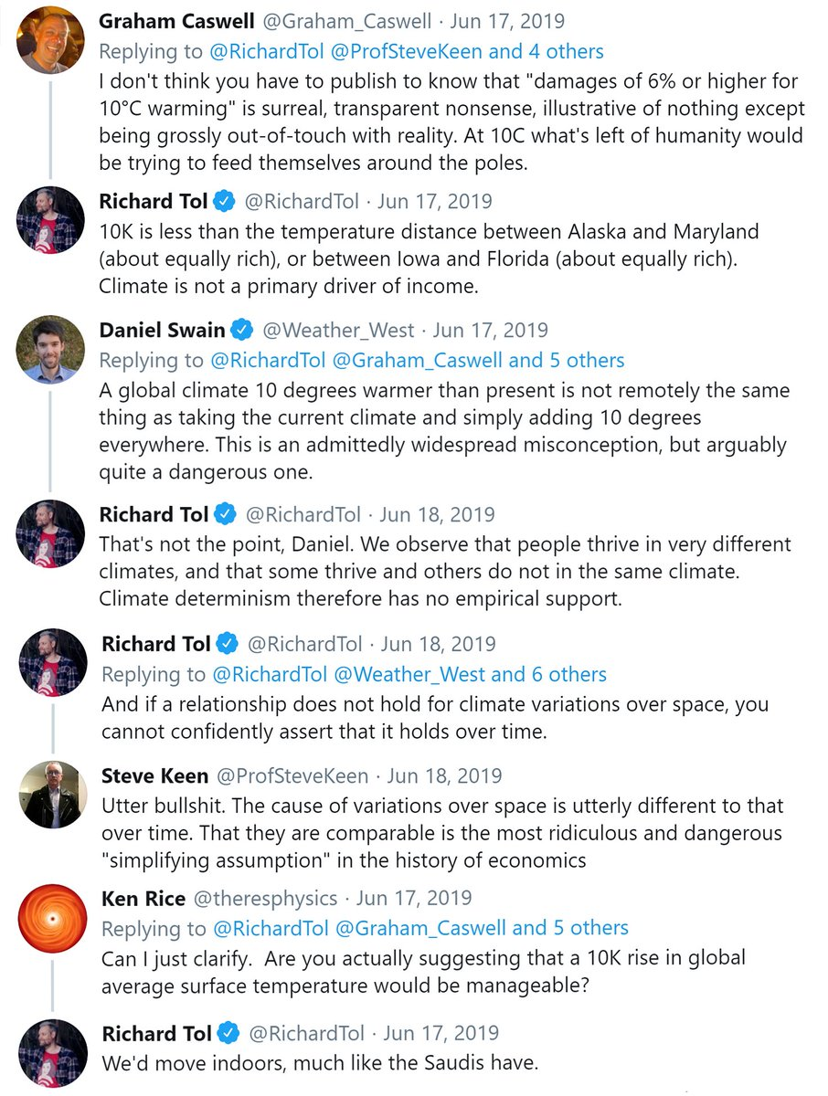 6/44 TL;DR III: And one gets a Nobel Prize these days for such appallingly terrible research. (Also, their optimal estimated warming is 4°C - which some scientists think could lead to the collapse of civilization.)And it also leads to following Twitter exchanges: