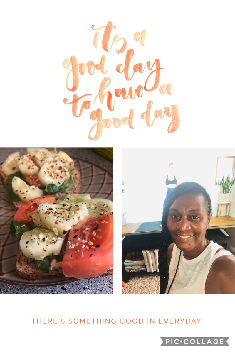 #SelfcareSaturday  - Working out AND eating good! My new favorite meal is cucumber, spinach, tomatoes, and hummus on toasted Ezekiel Flaxseed bread!! Topped it with pink salt and red pepper flakes. So YUMMY!!  #vegan #plantbaseddiet<br>http://pic.twitter.com/y6DHN72CSX