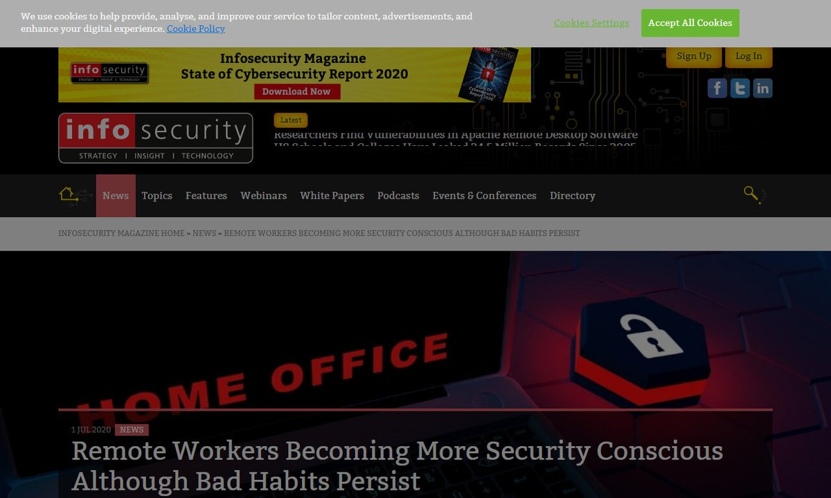 Remote Workers Becoming More Security Conscious Although Bad Habits Persist #organization #cybersecurity #lockdown #itteam #newstudytrendmicro #remotework via https://t.co/lhjFPV8R6h ☛ https://t.co/iT2rHVdKaq https://t.co/r1ZcdyCBks