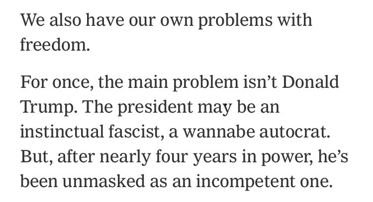 """When I argued against elevating perceived threats to speech norms above more urgent threats (like, say, fascism), a few ppl called this a straw man. No one could be *that* confused.  https://t.co/6SrZelyAEp  Now here's Bret Stephens, on what """"the main problem"""" is: https://t.co/aECrOKI0rC"""