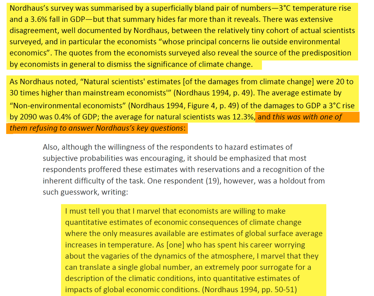18/44 Actual natural scientists are much more worried about the impact of climate change than economists. One wonders why.
