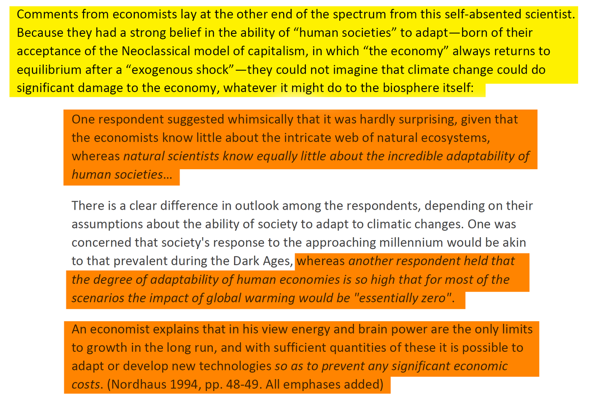 """19/44 It's because while """"economists know little about the intricate web of natural ecosystems, 𝘯𝘢𝘵𝘶𝘳𝘢𝘭 𝘴𝘤𝘪𝘦𝘯𝘵𝘪𝘴𝘵𝘴 𝘬𝘯𝘰𝘸 𝘦𝘲𝘶𝘢𝘭𝘭𝘺 𝘭𝘪𝘵𝘵𝘭𝘦 𝘢𝘣𝘰𝘶𝘵 𝘵𝘩𝘦 𝘪𝘯𝘤𝘳𝘦𝘥𝘪𝘣𝘭𝘦 𝘢𝘥𝘢𝘱𝘵𝘢𝘣𝘪𝘭𝘪𝘵𝘺 𝘰𝘧 𝘩𝘶𝘮𝘢𝘯 𝘴𝘰𝘤𝘪𝘦𝘵𝘪𝘦𝘴""""."""
