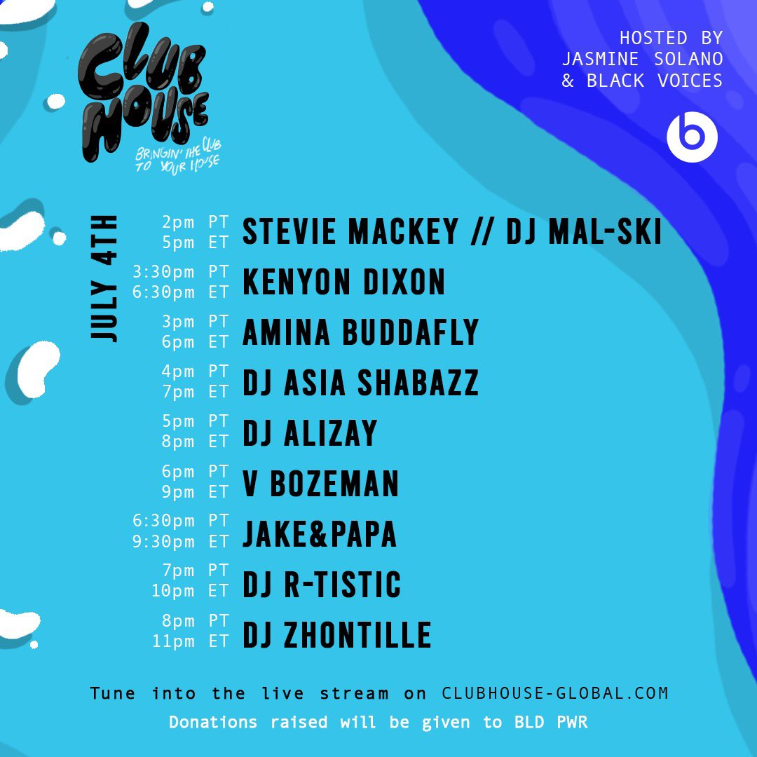 We're live! Today's @ClubHouseGlobal DJ lineup: @princeofmalibu @djmalski @kennygotsoul @aminabuddafly @AsiaShabazz @DjAlizay @jakeandpapa @DJRTistic @Doublezhee @vbozemanmusic @_rcellc. Donations from today's stream will go to @webldpwr // Tap in: https://t.co/MfhtAogeLD https://t.co/sr7f5m3QTr