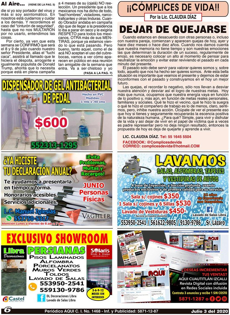 #DispensadordeGel #CómplicesdeVida #Contador #LavadodeSalas #Persianas #Publicidad #RevistaDigital #RedesSociales #OmarTapia #AQUICUAUTITLANIZCALLI - +Compártelo, puede ser de utilidad para alguien. Nuestra Edición Completa en: https://t.co/0Ils0ajFrW https://t.co/PTjtPlPYn7