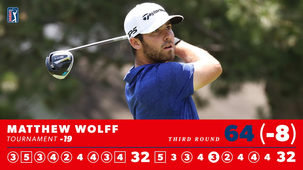 54-hole @RocketClassic leader. @matthew_wolff5 is going for his second TOUR win on Sunday.