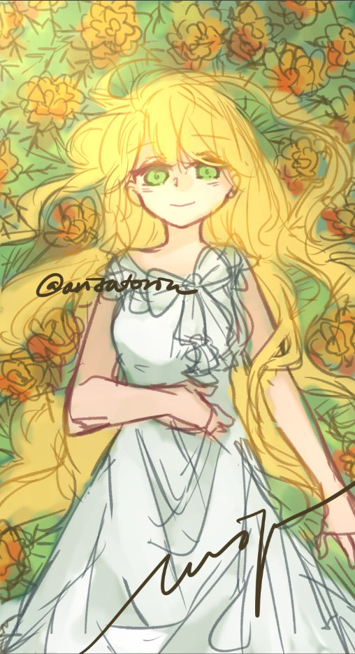 [Mystic Messenger and Flowers] #wip   Rika and Marigold*  *positive energy, passion, cruelty, grief, jealousy <br>http://pic.twitter.com/hiSxy4fOSF
