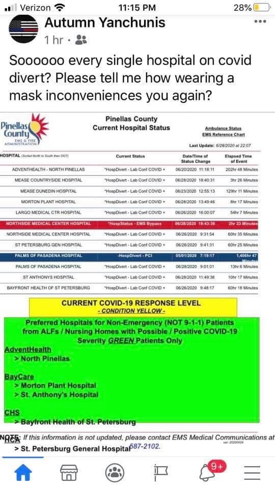 Tampa Bay is out of COVID beds. 6 hospitals in Pinellas County are out of beds. I'm an ICU nurse by trade. You need more than a vent. You need staff to care for that patient on a vent. pic.twitter.com/jk8xdUkJpO