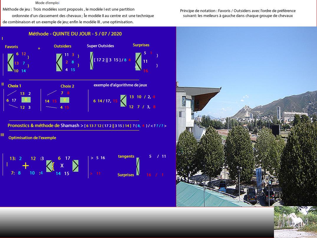 #JOUEZ ET #GAGNEZ *avec Shamash Méthode*5/07/2020 - Hippodrome #Quinté du jour 6 13 7 12 17 3 15 2 8 Voir photo Remarquable régularité de l'exemple proposé optimisé L'exemple proposé ou l'optimisation du bas a indiqué le quinté du 4/07/2020 (3 7 1 2 6); vérifiez https://t.co/3zv2fBlK8B