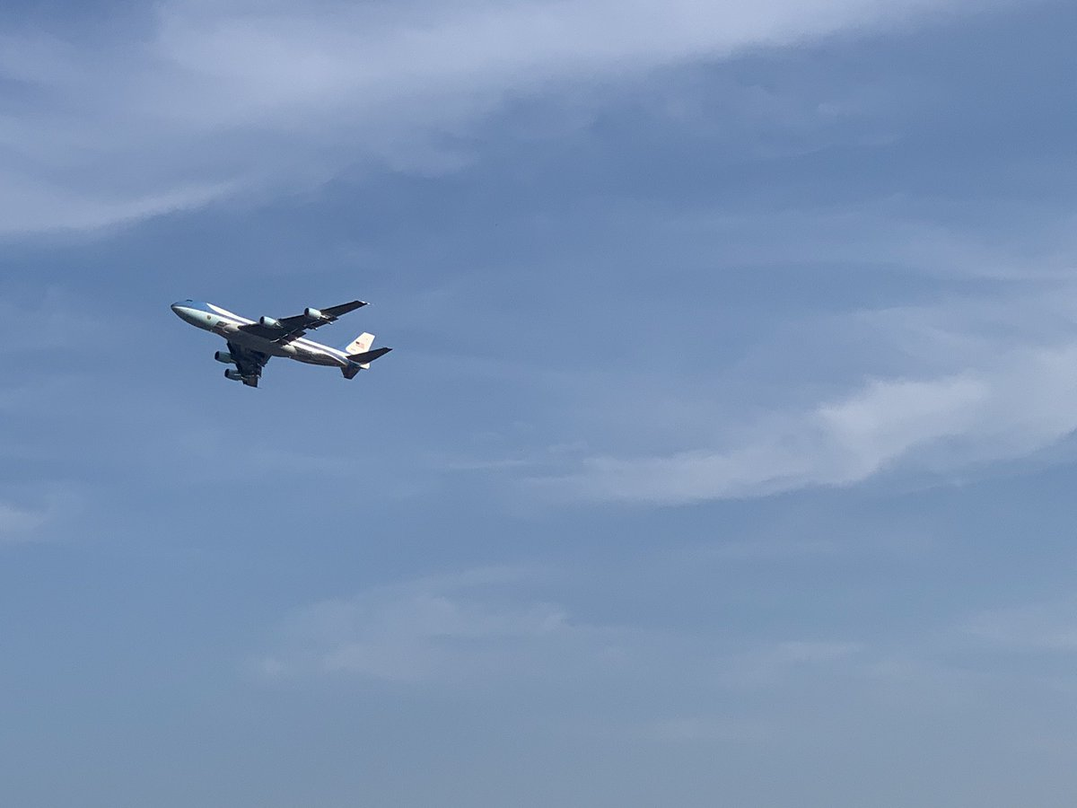 Also AF1 just flew by my building. If this is the flight pattern of the overall flyover, gonna have a good view.