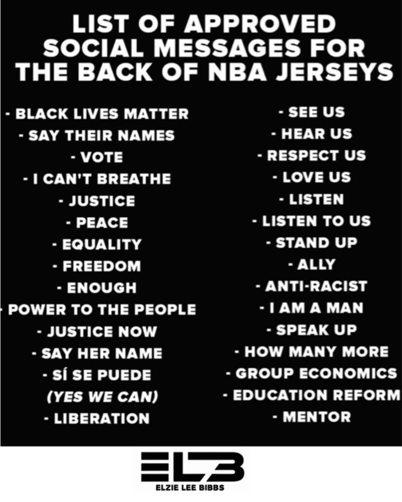 Here's A List Of Approved Social Messages For The Backs OF NBA Players Jerseys..  #stephonclark #follow #ahmaudarbery #equality #blacklivesmatter #basketball #blm #awareness #hbcu  #icantbreathe #breonnataylor #georgefloyd #elziebibbs #podcast #nba #popsmoke #kobe https://t.co/TKp8ibXnV1