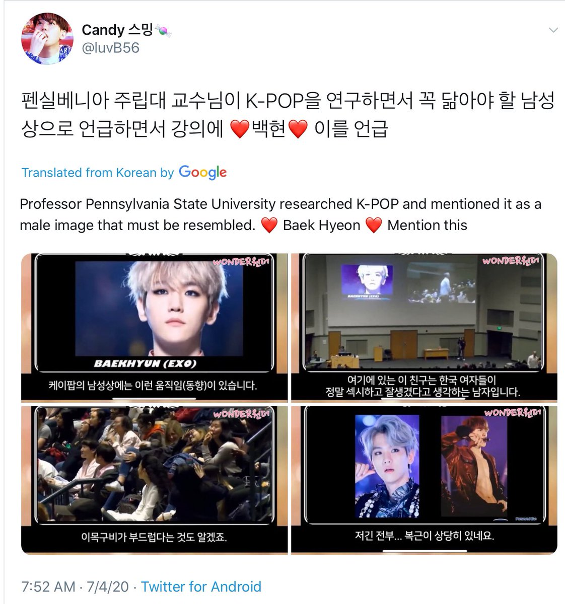 .@B_hundred_Hyun replied to a post, about an American college professor's study of Kpop, using BBH as part of his presentation.  The power of our guys! The power of BBH! ~J🐰 #Delight #baekhyun_하프밀리언_축하해   #EXO_SC #weareoneEXO #EXO #엑소 @weareoneEXO @layzhang https://t.co/Nk790gceXu
