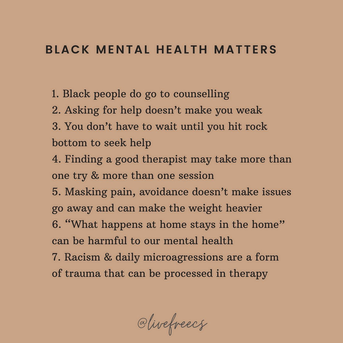 Black mental health matters. Let's normalise taking care of our mental health. You can connect with a culturally competent therapist on Trucircle. Click the link in bio to get started.  Image: @livefreecs  #therapytalk #blackmentalhealth https://t.co/8qKyvVMTnl