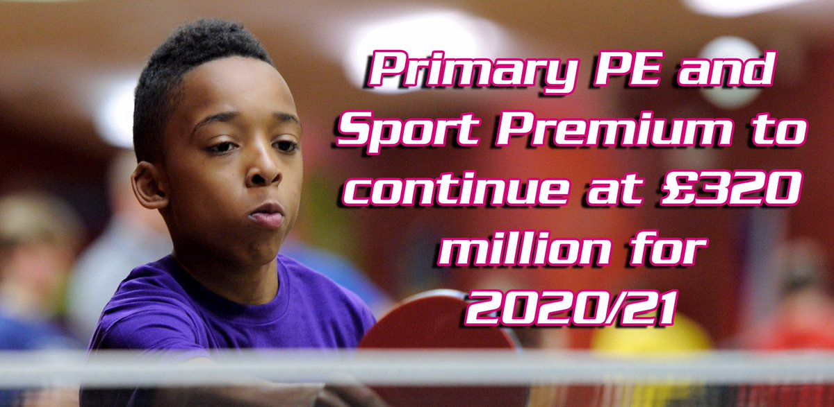 RT @afPE_PE: 💥⚠️BREAKING NEWS⚠️💥  We're delighted to report that the Primary PE and Sport Premium is to continue at £320 million for the 2020/21 academic year ⤵️ https://t.co/clNcWtuYlC @GavinWilliamson  ⚽️👨🏾🦽🏸🏃🏽♂️🎾🤸🏾♂️🏊🏾♂️🛴🧘🏼⚾️🏑⛹🏼♀️