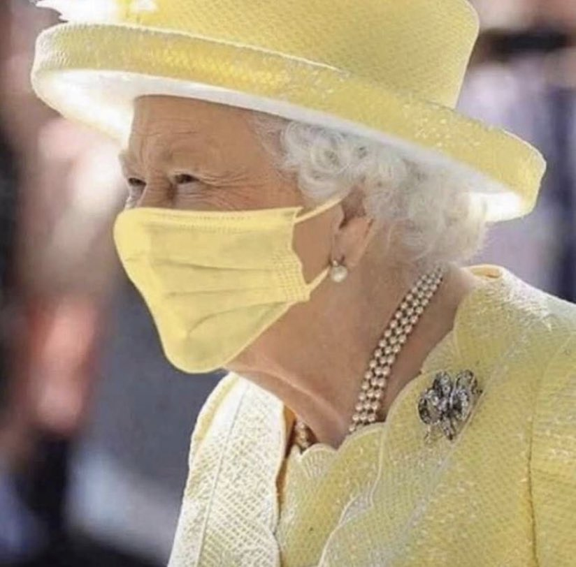 Her Royal Highness Queen Elizabeth II at age 94 and having rules for 66 years and gone through enormous challenges shows leadership (and style) by wearing a face mask during #COVIDー19 If she can do it so can you! https://t.co/qcUsGYs39Y