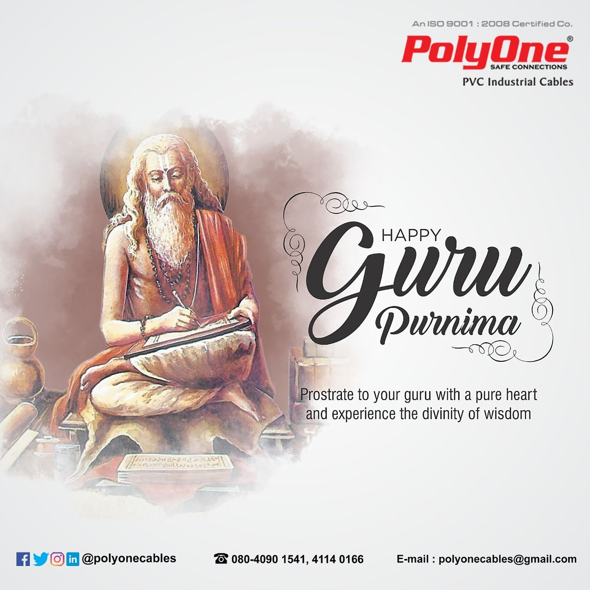 #HappyGuruPurnima   polyonecables@gmail.com  #polyone #cables #gurupurnima #gurupurnima2020 #purnima #wires #topicalspot #trendingnow #soacialmedia #environmentday #industrialwire #creativespot #Industry #electrical #occassionspot #digitalmarketing #madovermarketing https://t.co/ZRomTQHI1k