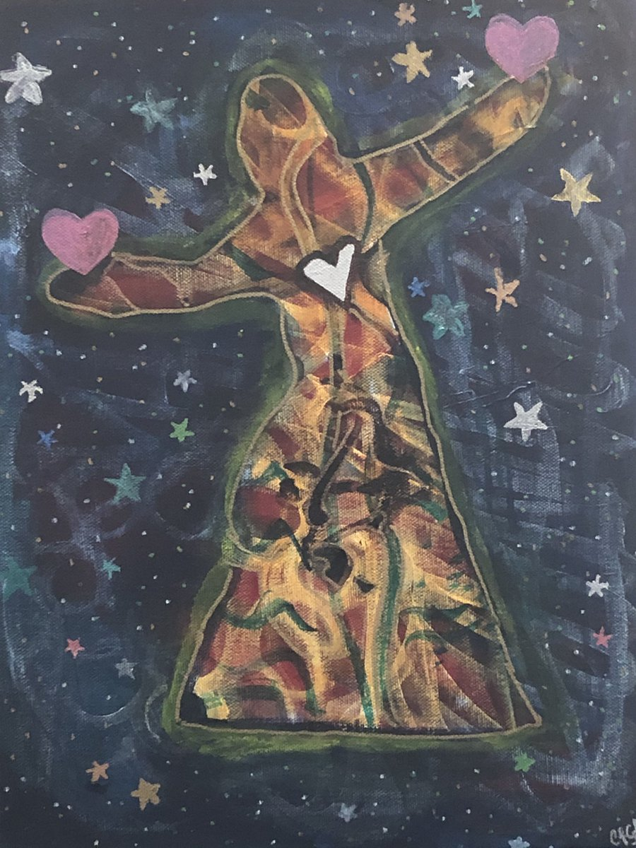 """This wasn't for my Intentional Creativity® program but it was for another class that Shiloh McCloud taught so still IC.   Title: Universal Love 11"""" x 14"""" Mixed Media on canvas.   #intentionalcreativity #mixedmedia #ContemporaryArt #personalmythology #depthpsychologypic.twitter.com/MzozH3s6VJ"""