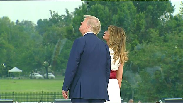 From the stage on the South Lawn, Pres & Mrs Trump watch a B-52 bomber fly above. https://t.co/amzy1MKxnk