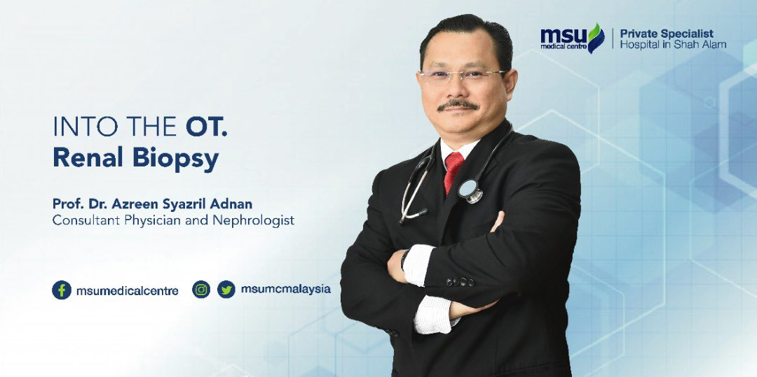 Sharing the #renal #biopsy procedure, performed by Prof @DrAzreen, Consultant Physician & #Nephrologist at @msumcmalaysia Private Specialist Hospital, where microscopic exam of the kidney tissue can ensure information to better diagnosis & treatment. youtu.be/78OWhgXuTAQ