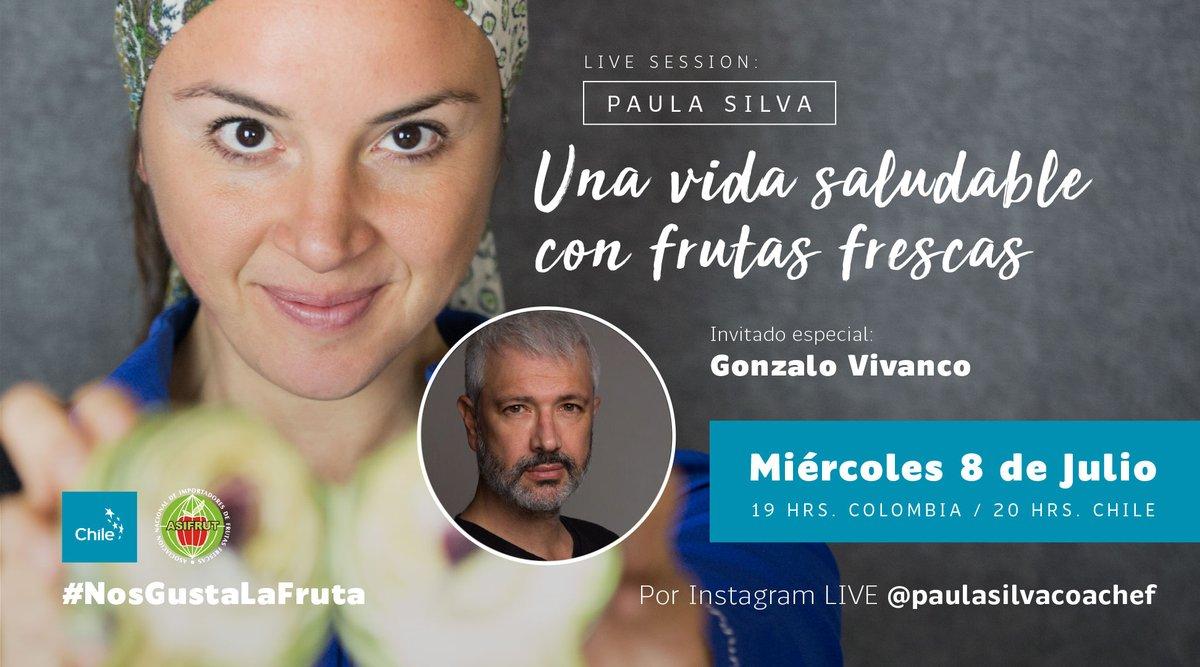 #SaveTheDate Este miércoles 8 de julio, a las 19 hrs. #Colombia y 20hrs. #Chile tendremos Instagram Live #NosGustaLaFruta. Junto a @PaulaSCoachef y @GonzaVivanco estaremos conversando sobre cómo llevar una vida saludable con frutas frescas. Más info aquí: https://t.co/YKfKUgLRJm https://t.co/dHW7rGOBM4