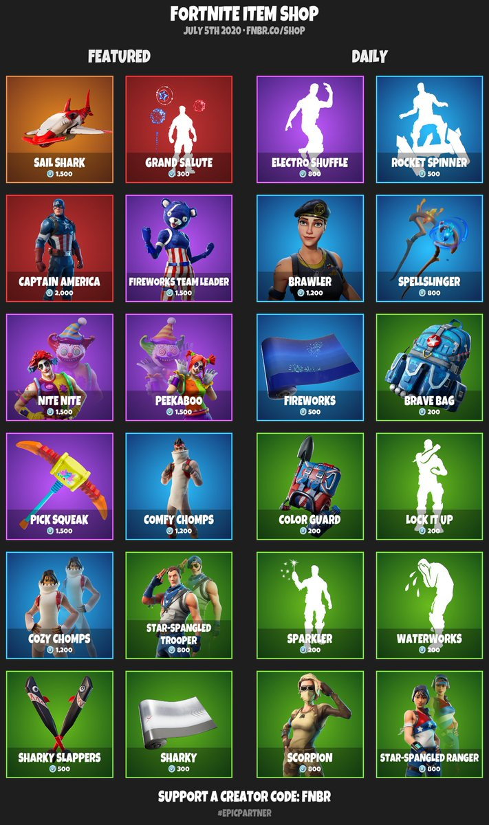 #RT @FortniteDaily: #Fortnite Item Shop for July 5th 2020 | https://fnbr.co/shop  