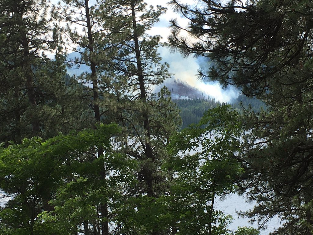 We've still got a fire burning but it's much smaller than yesterday.  It's at 40+ acres.  We've got 2 helicopters dropping water from the lake and a truck full of forest service hot shots just went down the road to the fire #forestfire #forest #idaho #spiritlake https://t.co/VEapXicD7a