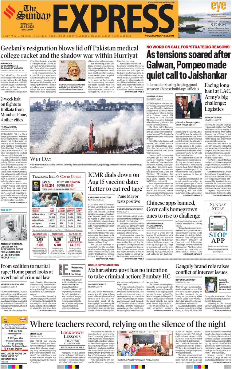 Good morning. This is the front page of #TheSundayExpress. For more news, click here bit.ly/3gk39X4