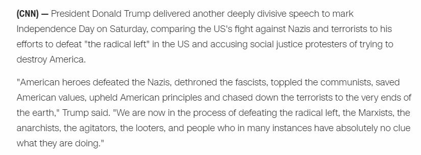 @realDonaldTrump @CNN TRUMPISM  On #July4th during a TAXPAYER funded presidential event, Trump took upon himself to brand those who oppose his presidency as Nazis. The hypocrisy was especially outrageous given the extent to which so much of what Trump says & does is straight out of Hitler's playbook. https://t.co/KBJVIJX5TL