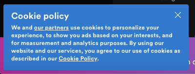 @Spotify's #GDPR banner is svelte, to say nothing about the lack of requesting affirmative consent.   #cookies https://t.co/u8OYSl77ZX