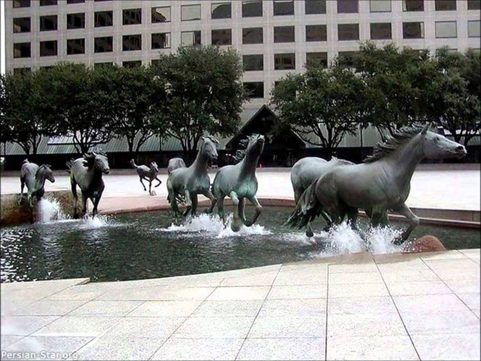 Texas Love the fountains which make it look as if the horses are kicking up the water as they go.