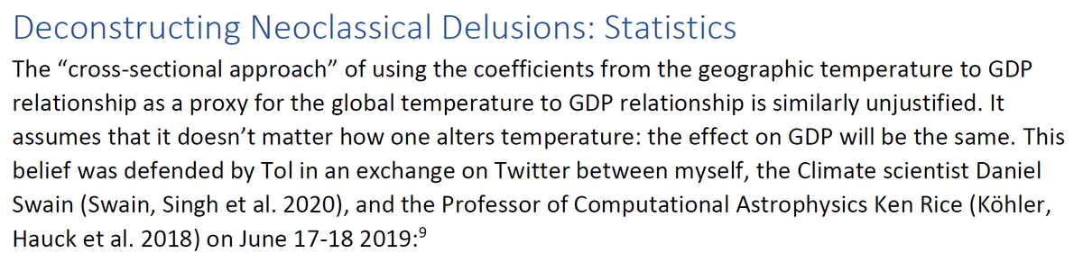 """32/44 9. Deconstructing Neoclassical Delusions: Statistics""""The """"cross-sectional approach"""" of using the coefficients from the geographic temperature to GDP relationship as a proxy for the global temperature to GDP relationship is similarly unjustified."""""""