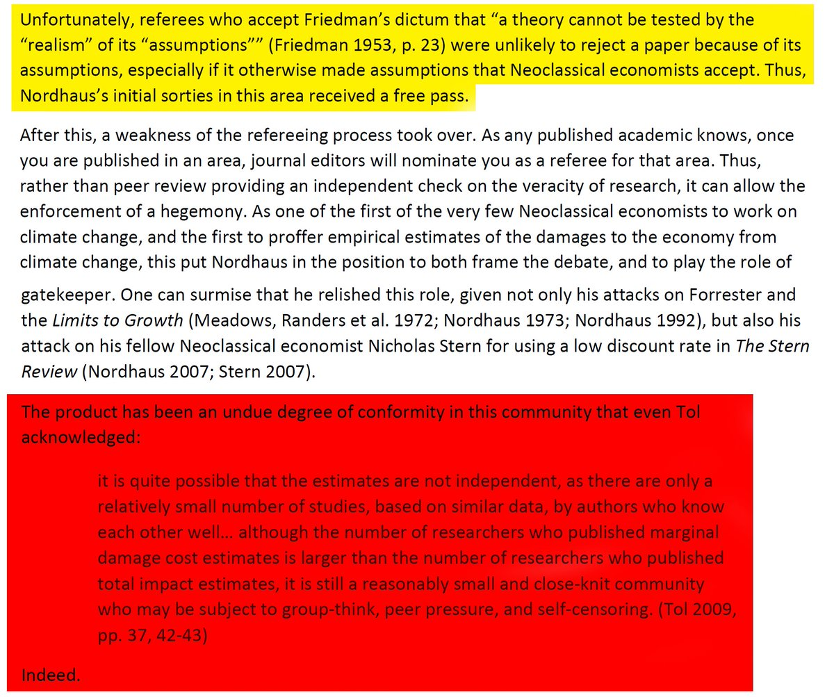 """42/44 """"Referees who accept Friedman's dictum that """"a theory cannot be tested by the """"realism"""" of its """"assumptions"""""""" were unlikely to reject a paper because of its assumptions.""""And once the first paper got accepted, it went downhill from there with group-think & co."""