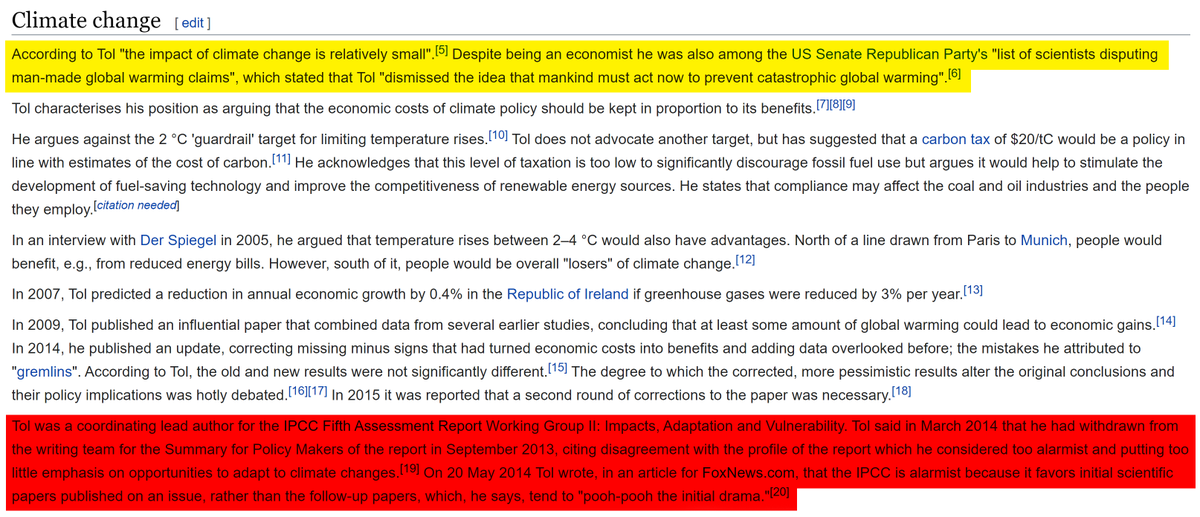 Or on Richard Tol's overall stance on climate change from his Wikipedia page: https://en.wikipedia.org/wiki/Richard_Tol