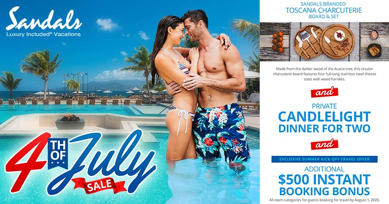 Receive a free candlelight dinner for two and a board & set at Sandals! Plus, get an additional $500 instant booking bonus!  More info: http://best-online-travel-deals.com/best-vacation-deals… #FourthofJuly2020 #FourthofJulyWeekend #FourthofJulypic.twitter.com/hxJ6Gu251c